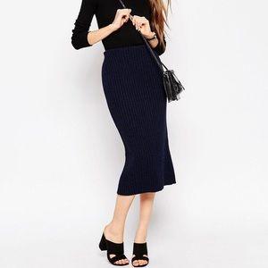 NWT ASOS Sz 6 Ribbed Sweater Midi Skirt